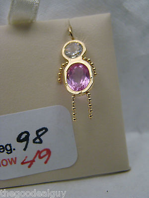 Month of Oct. Birthstone charm pendant 14kt yellow gold white and Pink NICE BOY 14kt Gold Baby Boy Charm