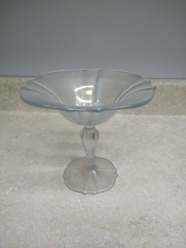 Antique White Ice Iridized Stretch Compote #310 US Glass