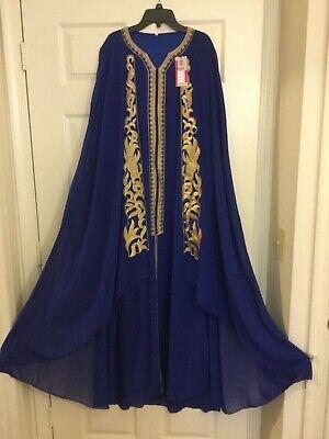 Fancy embroidered CAFTAN dress gown ABAYA jalabiah chiffon Cape evening wedding