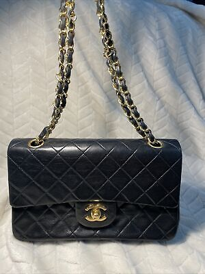 Authentic Chanel Lambskin Vintage classic double flap bag Small