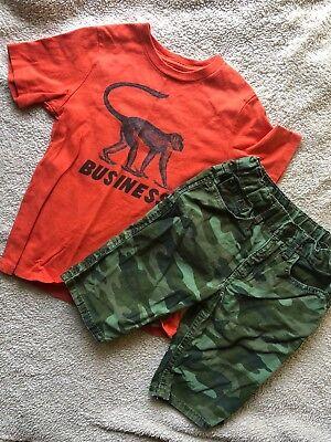 GAP KIDS Summer Outfit Set Graphic T-Shirt + Camo Jeans Shorts Boys 5 Monkey](Monkey Boy Graphics)