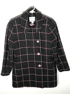 Florence Eiseman Pea Coat Girls Size 10 Gray And Pink Double Breasted