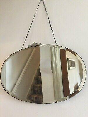 Art Deco Vintage Frameless Bevelled Mirror Metal Fan Crest Long Chain 55cm m226