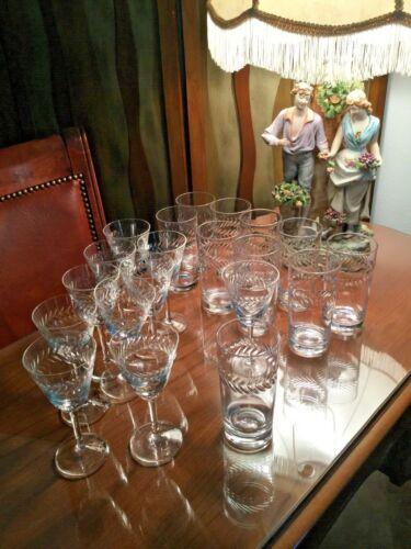 Fostoria Crystal Etched Laurel Pattern Glassware - 10-Wine /10-Water Glasses