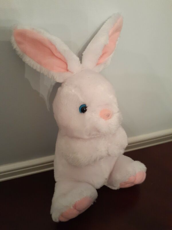 Vintage White Bunny Rabbit Blue Eyes Pink Accents Fuzzy Nose