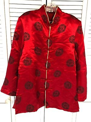Presidential Red Gold Satin Traditional Chinese APEC Knot Jacket Men's Size L