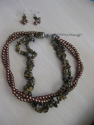 Estate Costume Tiger Eye Chocolate Bead 4 strand Necklace + Dangle Earrings Set