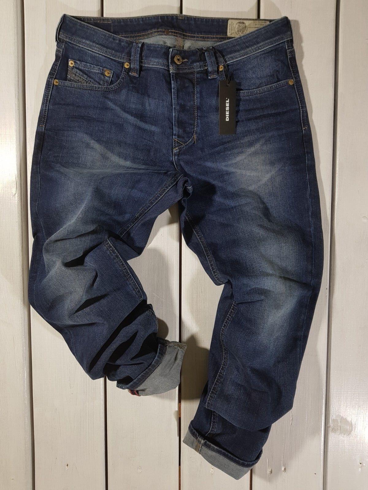 New Diesel Men/'s Jeans Larkee R8K58 Regular Straight Stretch Blue Distressed