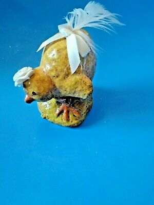 VTG Style Easter Chalkware Yellow Chick Glitter Feather Tail Rosette Ribbon Hat