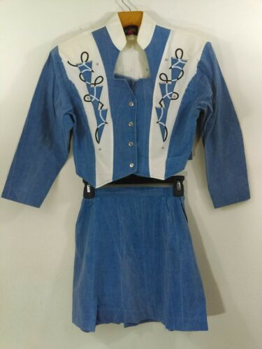 Vintage Wildfire 2 Piece Suit Western Wear Top Skirt Blue White Embroidery Small