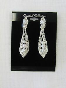 Silver Rhinestone Crystal & Pearl  Dangle CLIP ON Earrings # 1919 Wedding Bridal