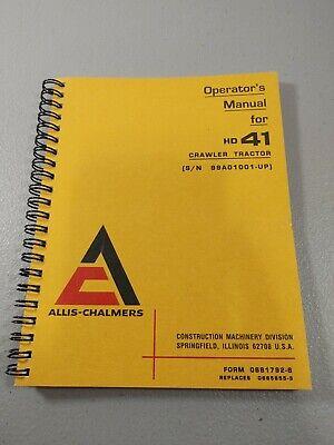 Allis-chalmers Model Hd41 Crawler Tractor Operators Manual