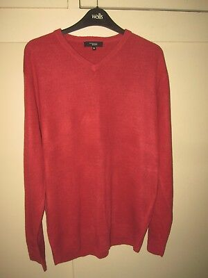 Thomas Nash ~ Men's Terracotta Brown V Neck Soft Jumper Sweater Size Medium 46""