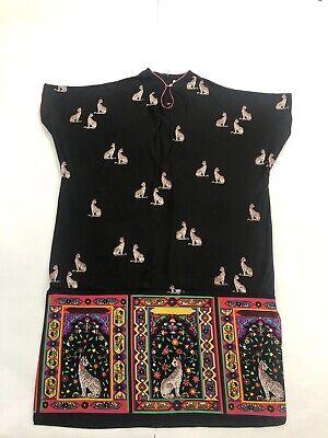 VTG DAVID BROWN CALIFORNIA CAT Egyptian CAFTAN ROBE DRESS OSFM Ailuromania - Egyptian Attire For Women