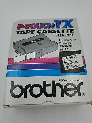P-Touch TX 50' Tape Cassette TX-2411 Black on White 3/4