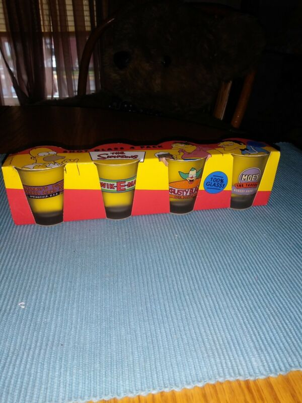 The Simpsons / Shot Glass 4 Pack / VINTAGE / BRAND NEW