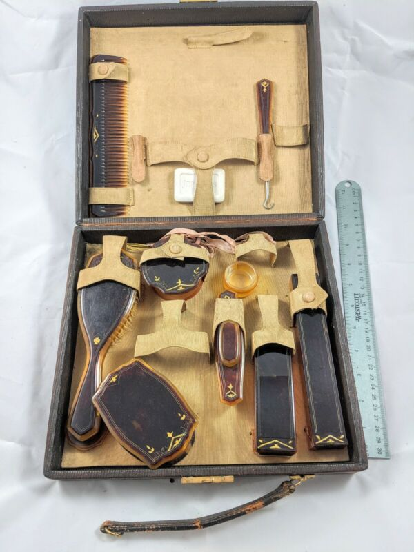 Antique Vanity Brush and Comb Set with Lockable Case