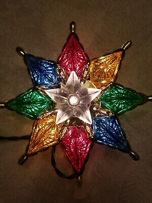 "Vintage Style Light Up Colorful Star Christmas Tree Topper 7"" star 11"" total"