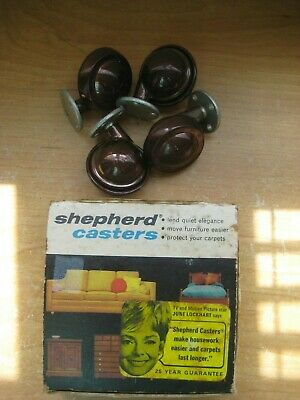 Vintage Shepherd Casters Metal Tread Ball Caster Antique Copper Set Of 8