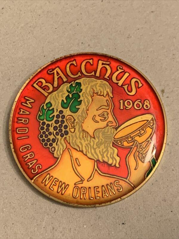 Vintage 1977 Krewe Of Bacchus Multi Color Cloisonné Mardi Gras Doubloon