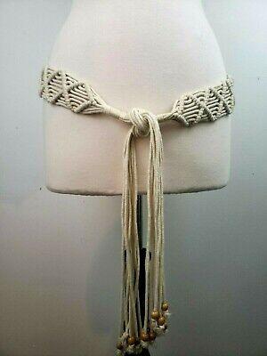 Macrame Tie Boho Belt Beaded Fringe Size L/XL Fits 37