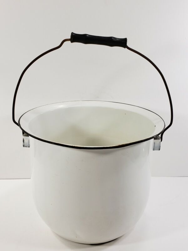 Vintage White Enamelware Pot Pail Chamber Pot with Wood Handle No Lid