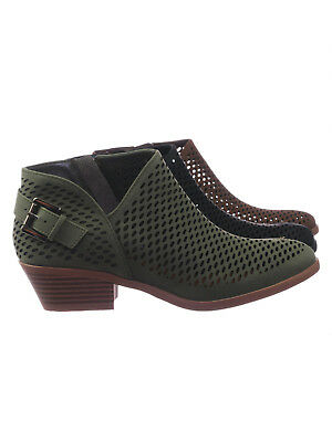 Riding Heel - Riding Asymmetrical Perforated Cutout  Low Block Heel Ankle Bootie w Side Slit