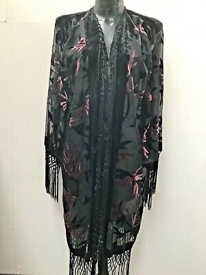 DEVORE SILK JACKET BY JAYLEY BLACK AND PINK FREE SIZE UP TO UK 18/20