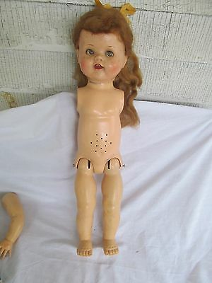 "1950's Ideal Saucy Walker Doll 22""  in sleepy eyes for restoration"