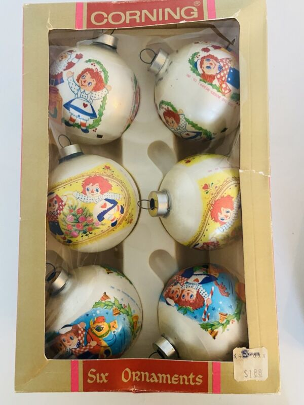 1970s VTG Ornaments Corning Box Set of 6 Raggedy Ann & Andy