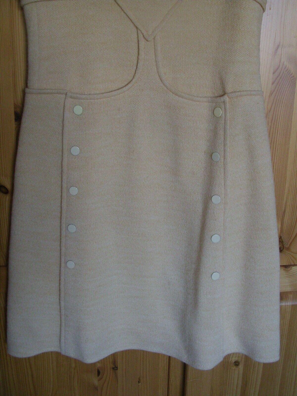 Rare vtg début 70's courreges hyperbole robe laine haute couture a s m fr38 uk10