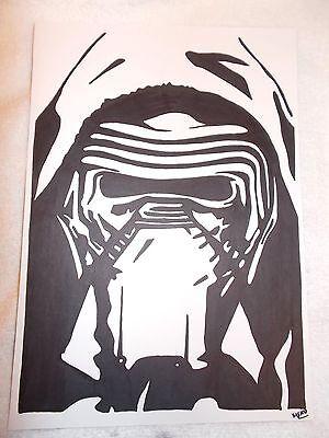 A4 Black Ink Marker Pen Sketch Kylo Ren from Star Wars Force Awakens