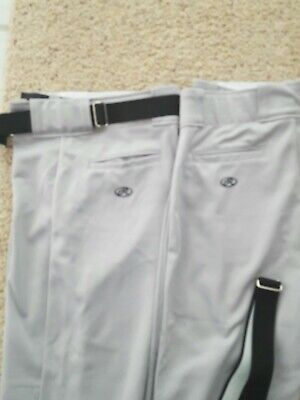 2 pairs of Rawlings Youth Xl Grey High Quality Baseball Pants w black Belts NWOT ()