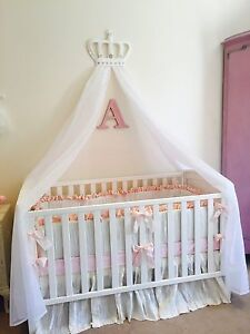 Baby boys girls princess cot bed canopy crown pink white for Baby girl canopy cribs