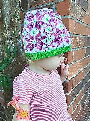 Hand Knitted Pink & Green Floral Print Toddler Hat, 1st Birthday Gift Ideas - 1st Birthday Girl Ideas