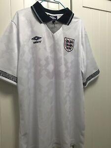 3fe5d03e0ae ENGLAND Shirt GASCOIGNE 1990 World Cup Size Large FOOTBALL SHIRT JERSEY  Gazza