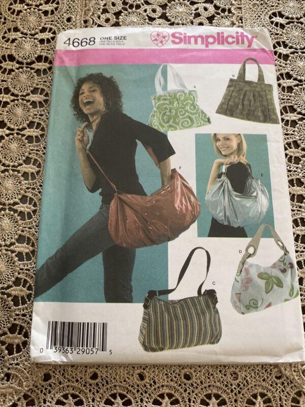 Simplicity Sewing Pattern 4668 Bags, Uncut