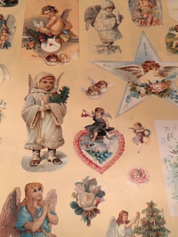 VTG CHRISTMAS WRAPPING PAPER GIFT WRAP VICTORIAN ANGELS ON IVORY NOS