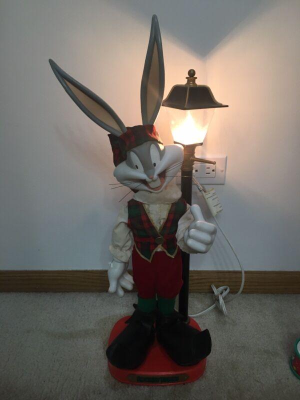 Looney Tunes Animated Christmas Bugs Bunny Santa Lamp Post Lights USED