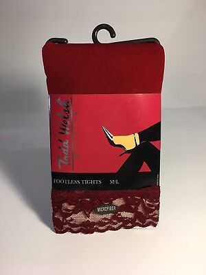 NEW! Todd Welsh Hosiery Footless Microfiber Tights with Lace Red / Wine Size M/L
