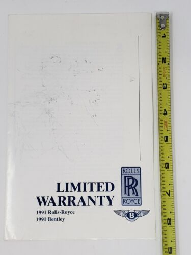 1991 Rolls Royce and Bentley Limited Warranty Fold-Out Brochure