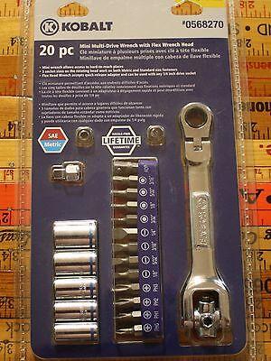 Kobalt 20 pc Mini Multi-Drive Dog Bone Wrench with Flex Wrench Head - #0568270