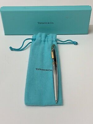 Tiffany & Co Silver Ballpoint Pen with Gold Tone Clip Made In Germany Gold Tone Ballpoint Pen