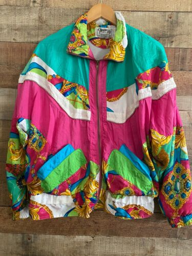 Vintage 90s Clipper Bay Track Suit Jacket/Pants Gold  Pink Green SZ Small Womens