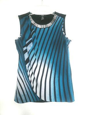 Striped Faux Wrap Shirt (ALFANI Petite Top Shirt Blouse Faux Wrap Striped Sleeveless Womens Sz P/P CAREER)