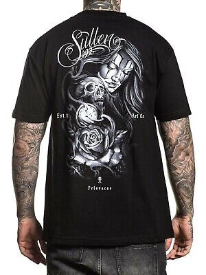 Skull And Roses Tattoo Sleeve (Sullen Men's Pelavacas Short Sleeve T-shirt Tattoo Style Skull and Rose)