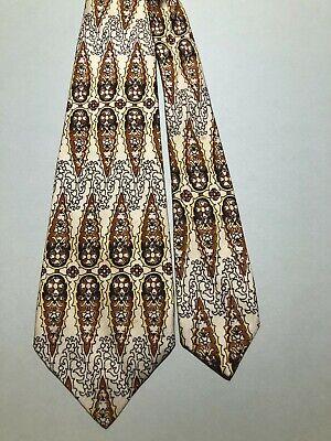 1940s Mens Ties | Wide Ties & Painted Ties VINTAGE 1940'S-50'S PERSIANS PENDANT DESIGNS ON IVORY 100% SILK TIE NECKTIE  $14.50 AT vintagedancer.com