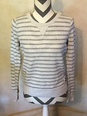 Small Abercrombie & Fitch Gray White Striped Sweater Long Sleeve Moose 1892 Warm