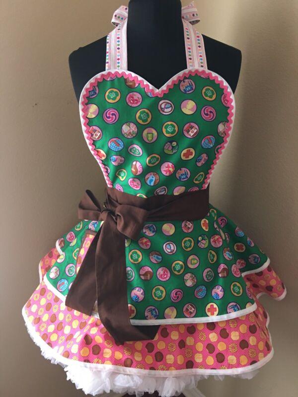 NEW! Women's Size Handmade Girl Scout Cookies Apron Little Brownie Baker