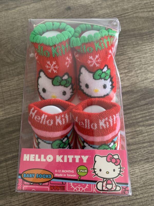 Hello Kitty 2-Pk Baby/Toddler Socks Booties Christmas 0-12m NEW